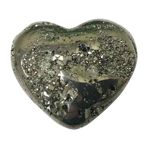 2 X 2.5 Inch Natural Pyrite Gemstone Heart Collectible From Peru