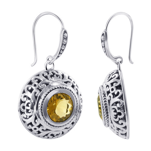 Citrine Gemstone November Birthstone Bali Design Sterling Silver Drop Earrings