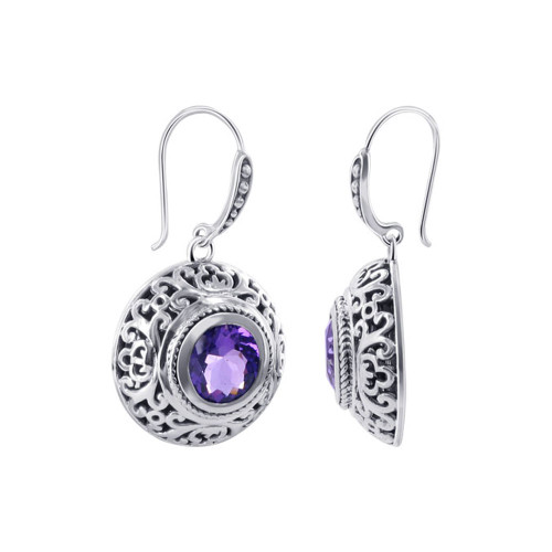 925 Sterling Silver Bali design February Amethyst Birthstone Drop Earrings
