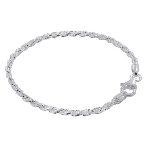 925 Silver 2.5mm wide Faceted Cut Rope Chain Bracelet 8 inch