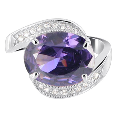 Oval Purple CZ with Accents Sterling Silver Ring