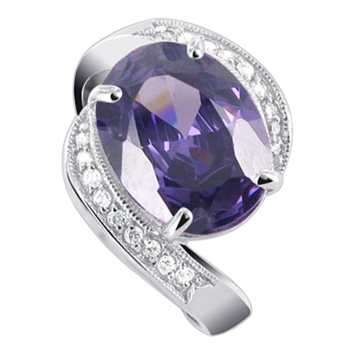 Oval Purple Cubic Zirconia CZ with Accents Sterling Silver Ring
