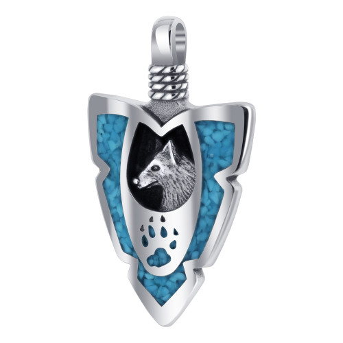 Arrowhead Turquoise Gemstone with Wolf Paw and Claw Southwestern Style 925 Sterling Silver Pendant