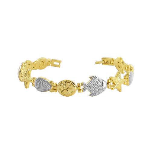 Sea Life 10mm Magnetic Therapy Link Long Bracelet Fold over Clasp