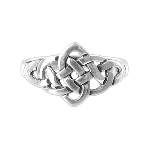 925 Sterling Silver Celtic Knot Design Front Ring