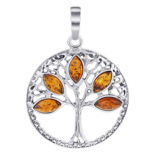 925 Silver Tree of Life Pendant with Rich Marquise Cut Amber Gemstone