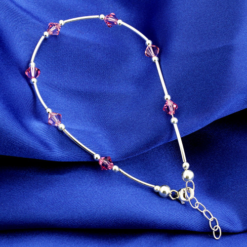 """Made with Swarovski Elements Crystal Pink 925 Silver Ankle Bracelet 9 to 10"""""""