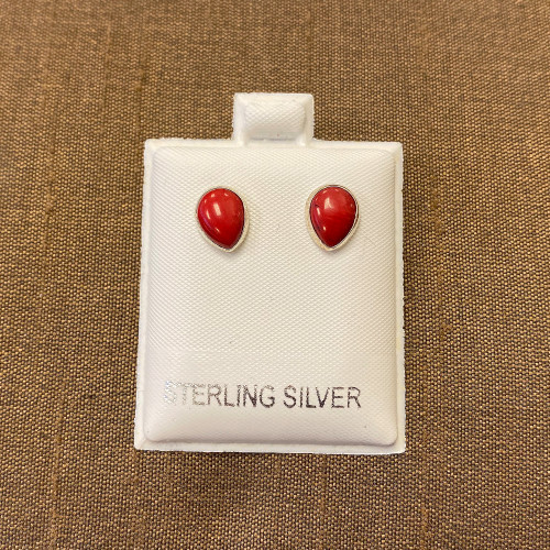 925 Silver Spongy Red Simulated Coral Stud Earrings