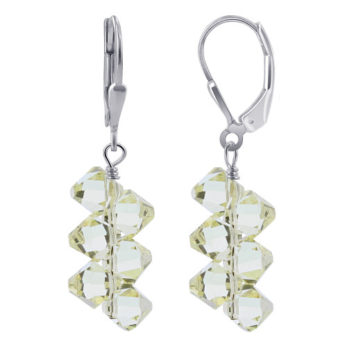 Yellow Swarovski Crystal on Cluster Style Sterling Silver Leverback Drop Earrings