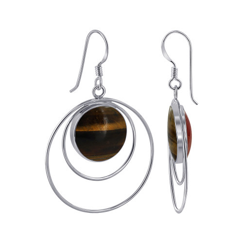 14mm Round Tiger Eye & Coral Gemstone Double Sided Sterling Silver French Hook Drop Earrings