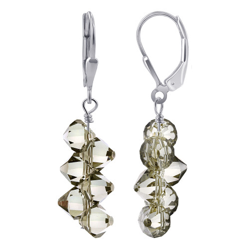 Swarovski Elements Crystal Cluster Style Sterling Silver Drop Earrings