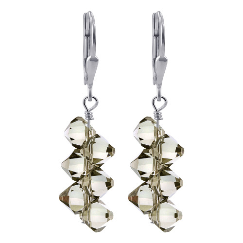 Gray Swarovski Elements Crystal Cluster Style Handmade 925 Sterling Silver Leverback Drop Earrings