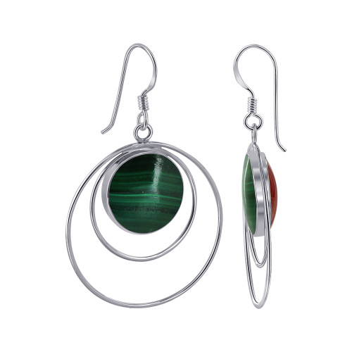 14mm Round Sterling Silver Double Sided Malachite & Coral Drop Earrings