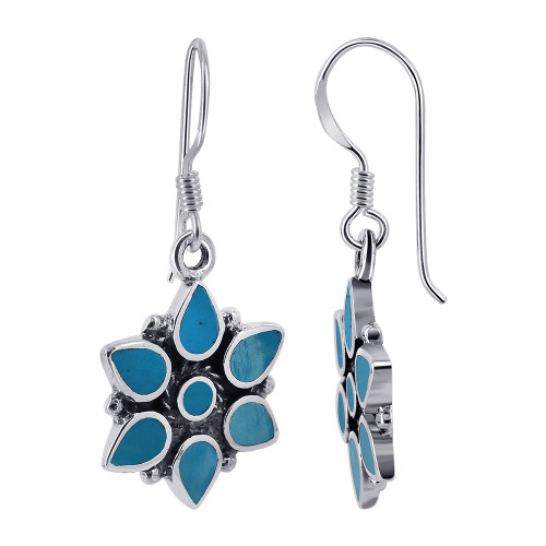 15mm Flower Turquoise Gemstone 925 Sterling Silver French Ear Wire Drop Earrings
