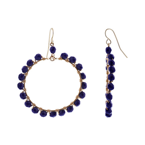 Blue Czech Seed Beads Circle Gold Plated Over Stainless Steel Handmade Earrings