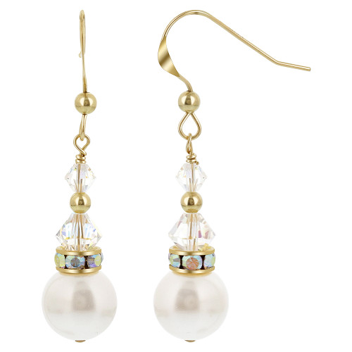 Gold filled White Pearl Swarovski Elements Clear Crystal French Wire Drop Earrings
