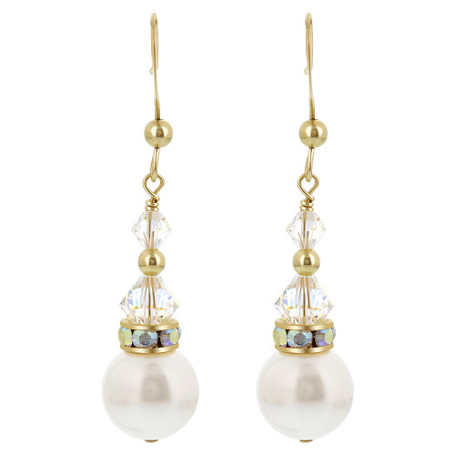 Clear Crystal French Wire Drop Earrings