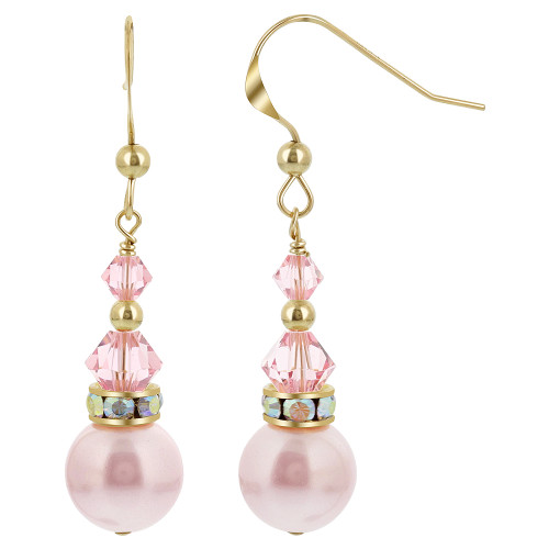 Gold filled White Pearl Swarovski Elements Pink Crystal French Wire Drop Earrings