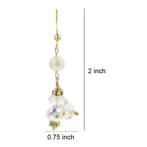 Gold filled Simulated White Pearl Clear Crystal Dangle Earrings