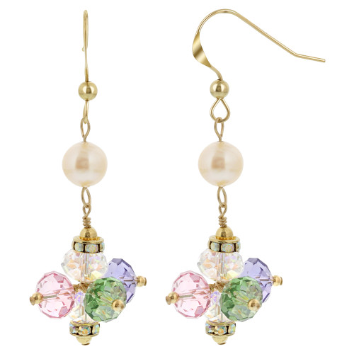 Gold filled Simulated Pearl Swarovski Elements Multi Crystal Dangle Earrings
