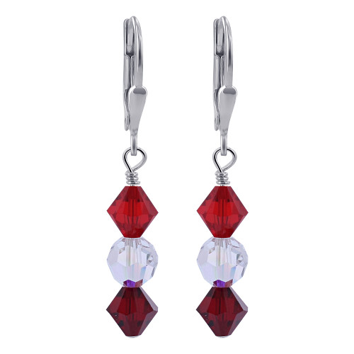 Red and Clear AB Crystal 925 Silver Drop Earrings