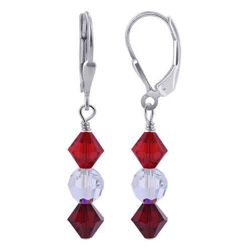 Swarovski Red and Clear AB Crystal Sterling Silver Drop Earrings