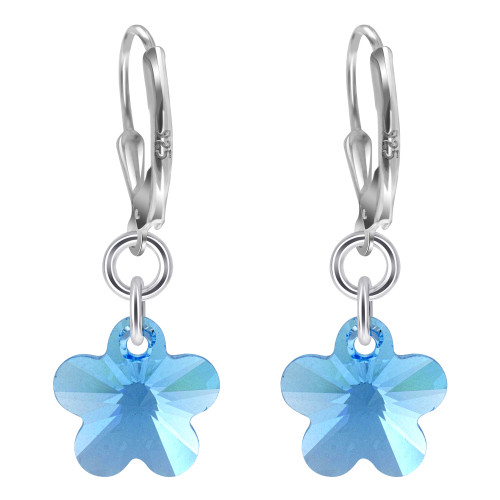 Flower Shape Swarovski Elements Blue Crystal Handmade Sterling Silver Drop Earrings
