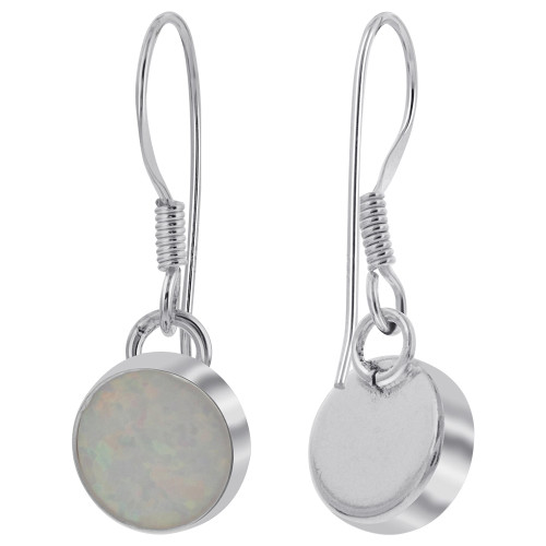 Created Opal 925 Sterling Silver Drop Earrings
