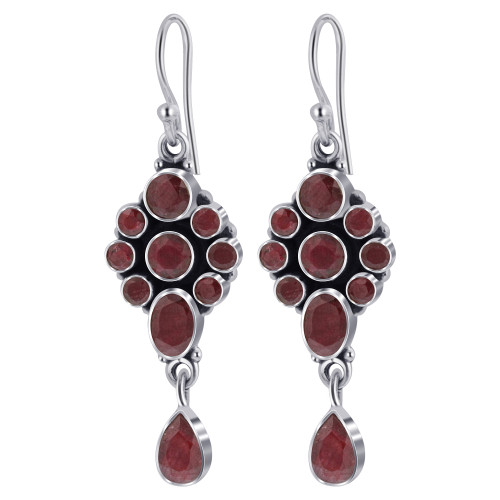 925 Silver Round and Oval Dyed Ruby Gemstone Drop Earrings