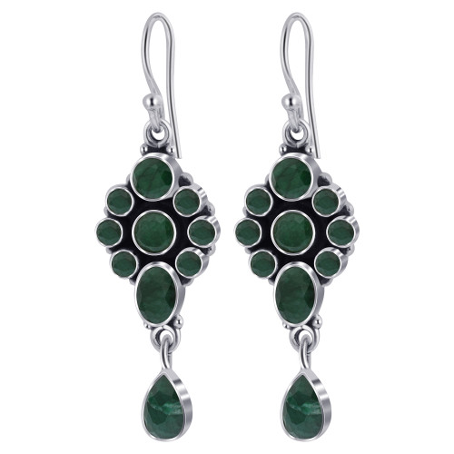 925 Silver Round and Oval Green Amethyst Gemstone Drop Earrings