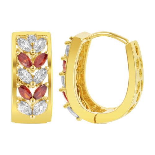 18k Gold Layered Marquise Shape Garnet & Clear Cubic Zirconia Leaf Design Hoop Earrings