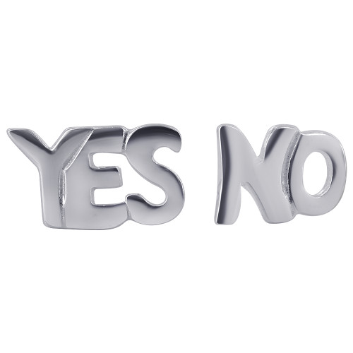 925 Sterling Silver Words YES and NO Post Back Stud Earrings