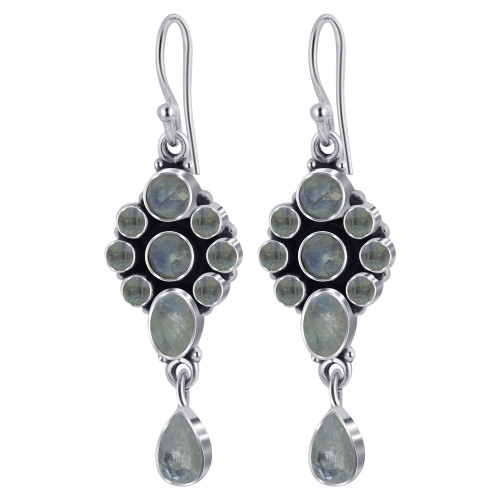 925 Silver Round and Oval Moonstone Gemstone Drop Earrings