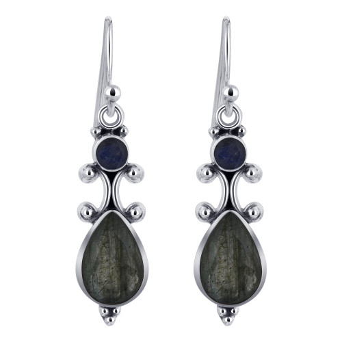 925 Silver Pear and Round Labradorite Gemstone Drop Earrings