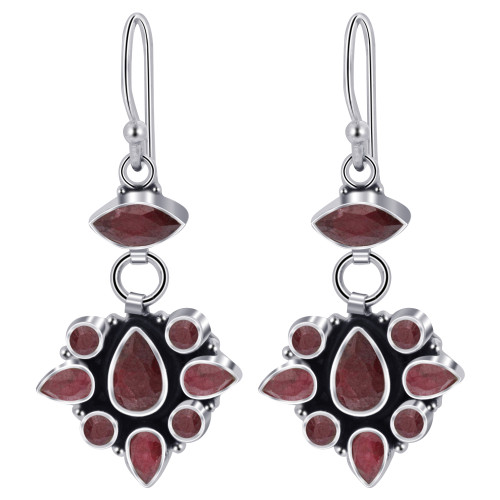 925 Sterling Silver Dyed Ruby Gemstone Drop Earrings