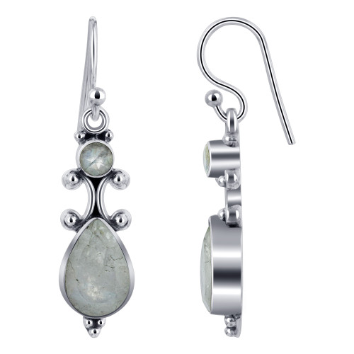 925 Silver Pear and Round Moonstone Gemstone Drop Earrings