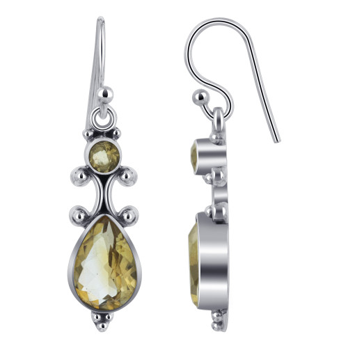 925 Silver Pear and Round Citrine Gemstone Drop Earrings