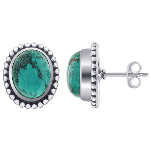 Oval Reconstituted Turquoise Gemstone Bezel Set Sterling Silver Stud Earrings