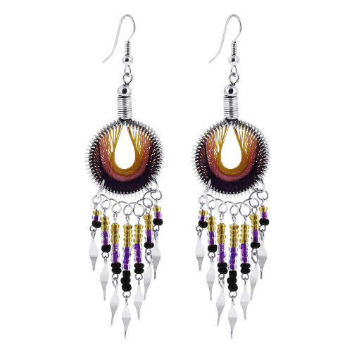 Beads on Orange Pink and Purple Thread Handmade Round Chandelier Stainless Steel Earrings