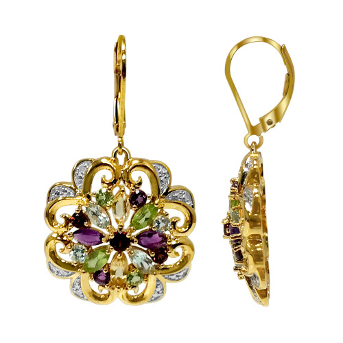 Gold Over 925 Sterling Silver Multi Gemstone Floral Vermeil Earrings with Leverback