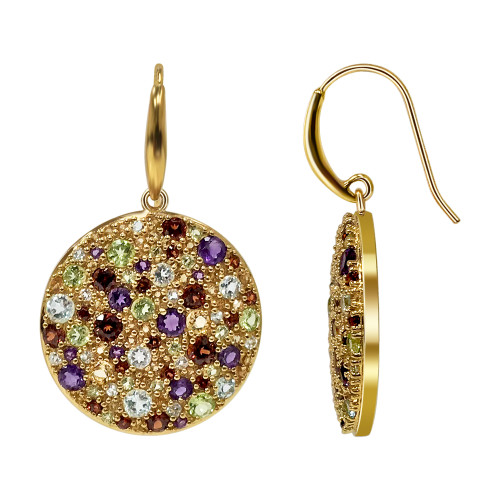 Gold Over Multi Gemstone 925 Sterling Silver Vermeil Earrings with French Hook
