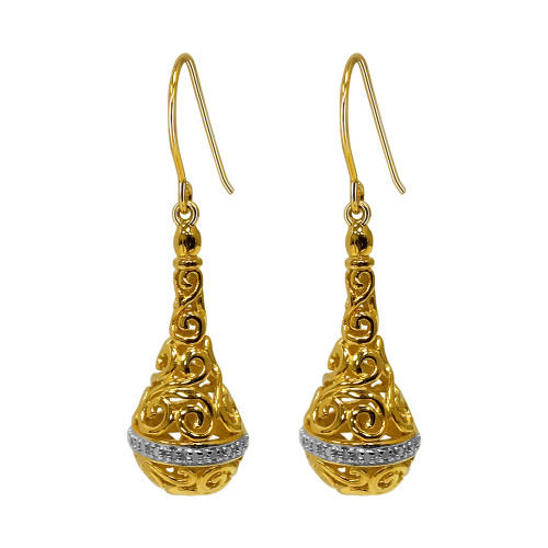 Gold Over 925 Sterling Silver Filigree Design Vermeil Earrings with French Hook