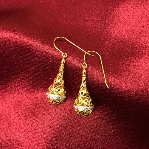 Filigree Design Vermeil Earrings