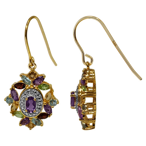 Gold Over 925 Sterling Silver Multi Gemstone Vermeil Earrings with French Hook