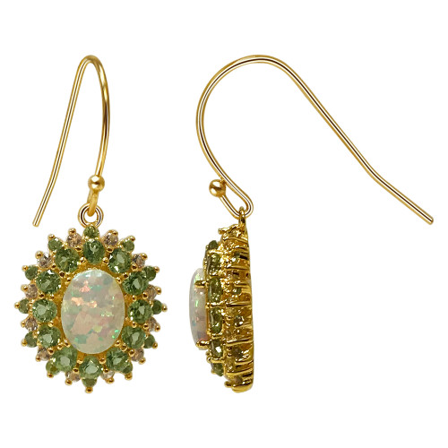 925 Sterling Silver Gold Over Multi Gemstone Vermeil Earrings with French Hook