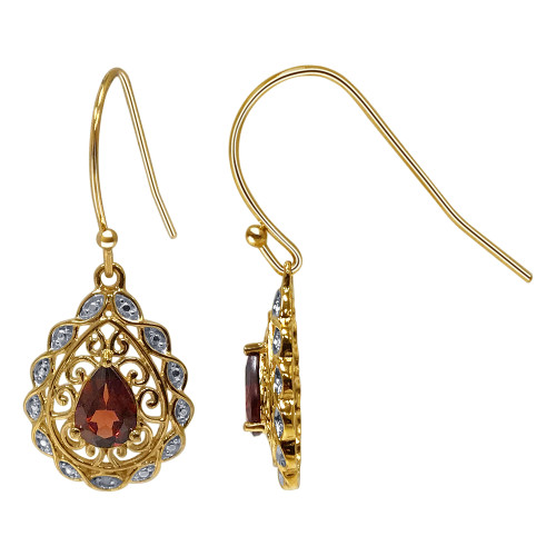 Gold Over 925 Sterling Silver Pear Shape Garnet Gemstone Vermeil Earrings with French Hook
