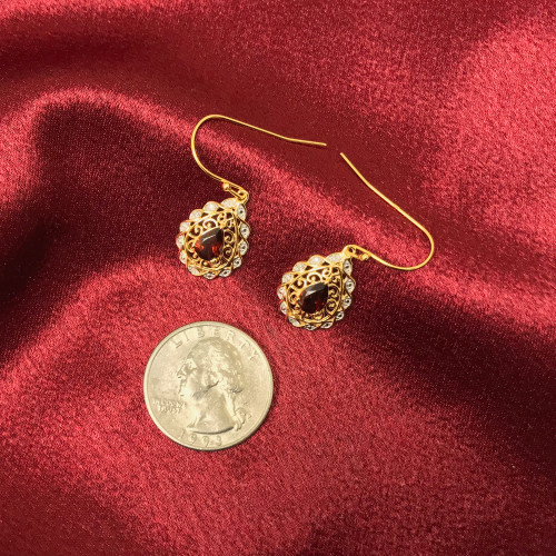 Gold Over 925 Silver Garnet Gemstone Vermeil Earrings