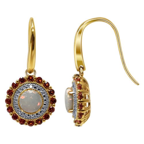 Gold Over 925 Sterling Silver Round Shape Multi Gemstone Vermeil Earrings with French Hook