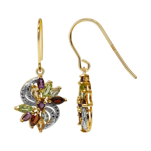 Gold Over 925 Sterling Silver Vermeil Multi Gemstone Earrings with French Hook