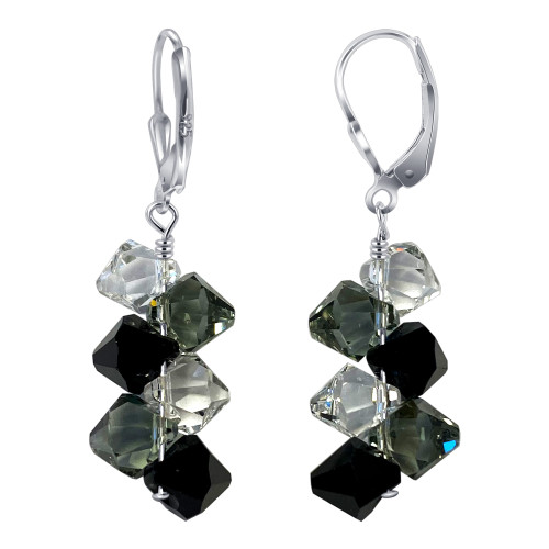 925 Sterling Silver Swarovski Elements Clear & Black Crystal Leverback Handmade Drop Earrings